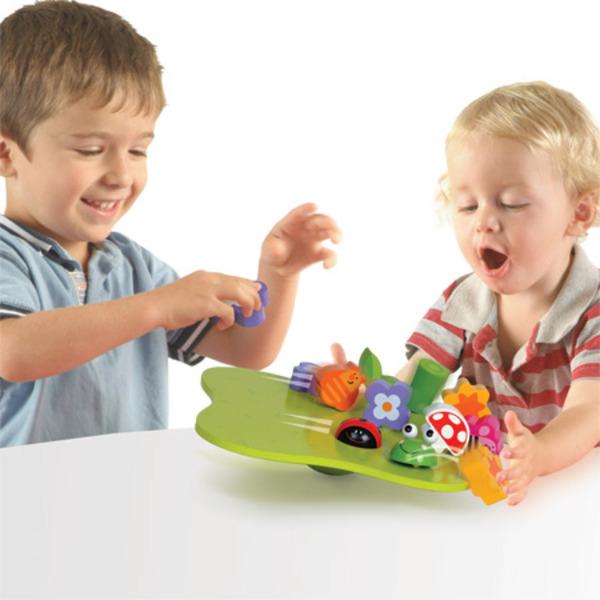 Large fiesta crafts wobbly garden wooden balancing toy for preschoolers
