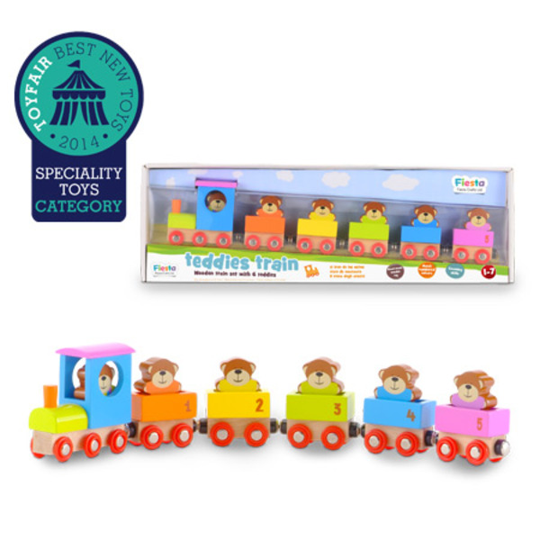 Large fiesta crafts teddies train colour and number matching wooden train with teddy bear passangers for 1 one year and up toddlers