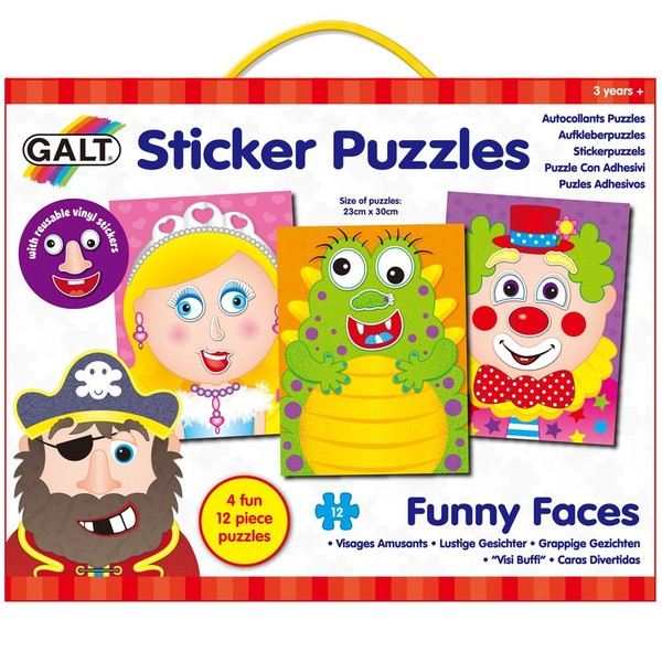 Large galt sticker puzzles funny faces for children aged 3 three years and up