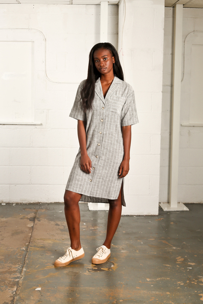 Large nyss19 grey stripe linen dress