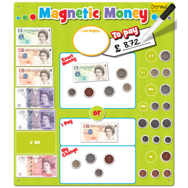 Large fiesta crafts magnetic money board learn to count change british money pounds sterling