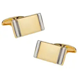 Small gold silver bar cufflinks