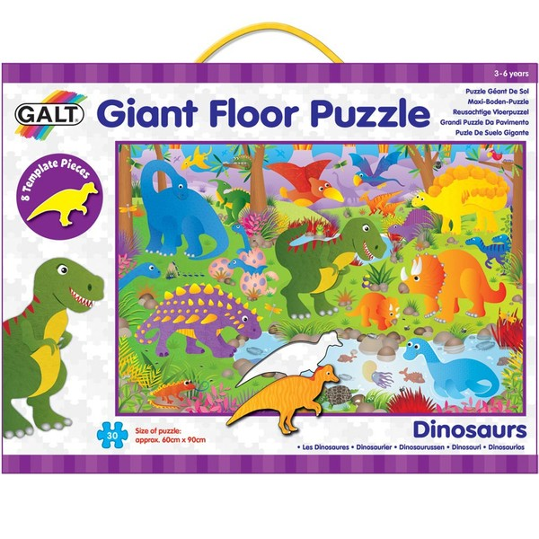 Large galt giant floor jigsaw puzzle 30 thirty pieces stencil peices dinosaur dinosaurs suitable for children aged 3 three years and over