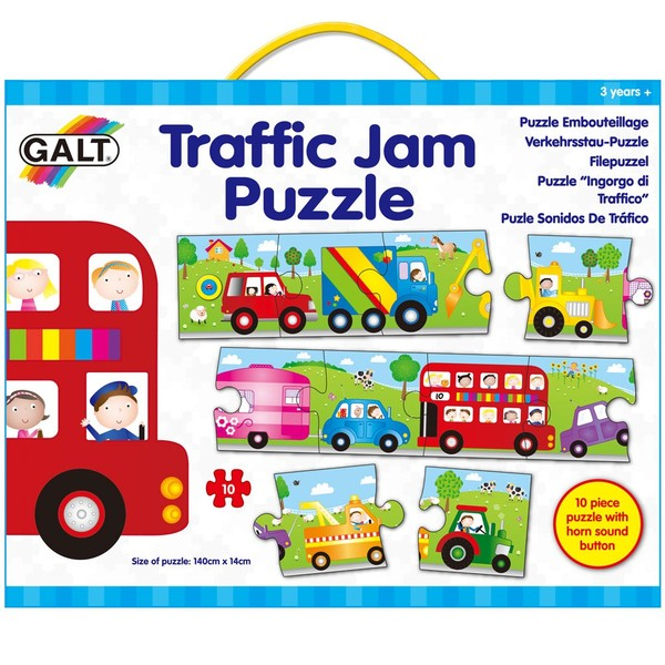 Large galt traffic jam puzzle long puzzle 10 ten piece for children aged 3 three years and up