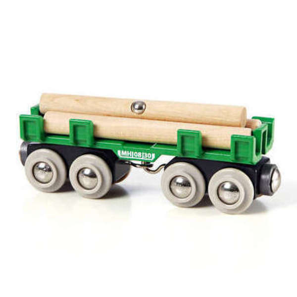 Large lumber wagon magnetic logs brio railway wooden track add ons on accessories