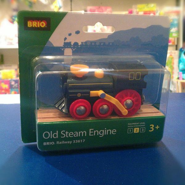 Large old steam steem engine brio wooden railway