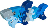 Small shark number puzzle 1 to 10 one to ten jigsaw puzzle lanka kade fair trade toy toys wooden wood natural fun junction toy shop stop store crieff perth perthshire scotland