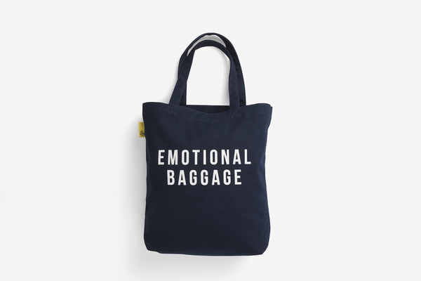 Large emotional baggage navy tote shopper bag canvas pocket shoulder