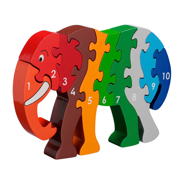 Large elephant elephent elafant elefant number puzzle 1 to 10 one to ten jigsaw puzzle lanka kade fair trade toy toys wooden wood natural fun junction toy shop stop store crieff perth perthshire scotland
