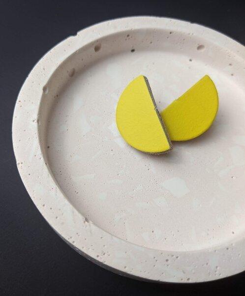 Large km yellow semi circle studs