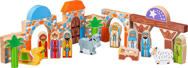 Large nativity set building blocks christmas manger jesus mary joseph lanka kade fair trade toy toys wooden wood natural fun junction toy shop stop store crieff perth perthshire scotland 3