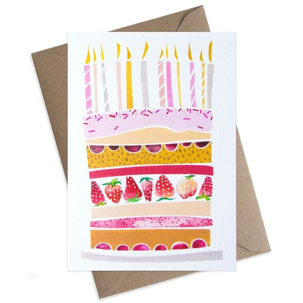 Large pink birthday cake card