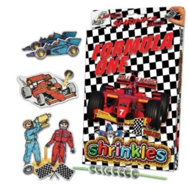 Large formula one 1 shrinkles shrinkies shrinks craft bag personalised personalisation colouring colour in