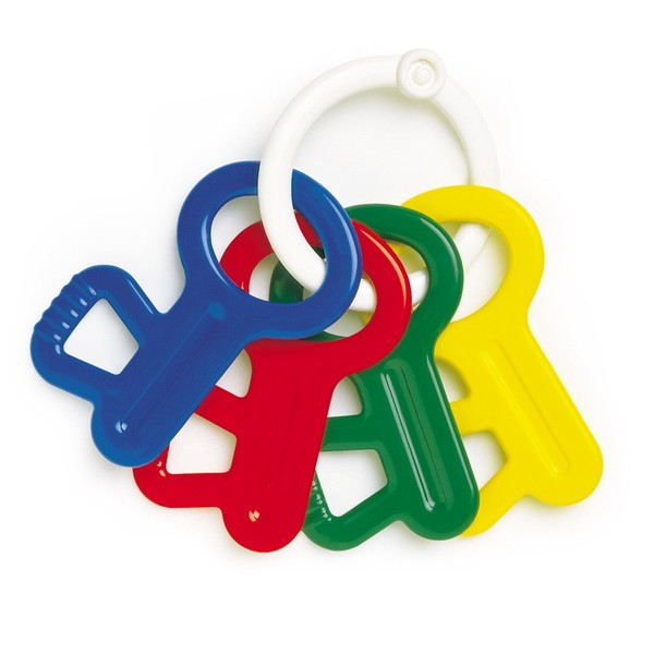 Large galt ambi toys first rattle keys plastic keychain red yellow green blue