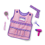 Small melissa doug dress up costume pretend play stylist smock apron hair dryer scissors mirror comb