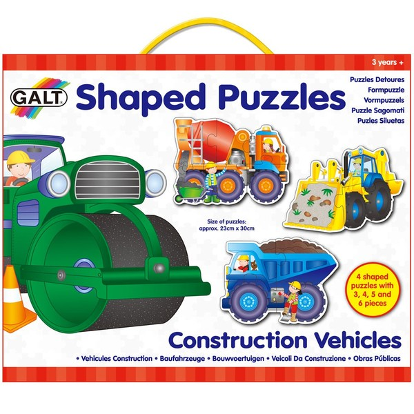 Large galt shaped puzzles construction vehicles 3  4  5  and 6 piece puzzles