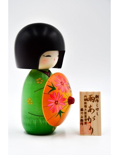 Large kokeshi doll after the rain green ameagari