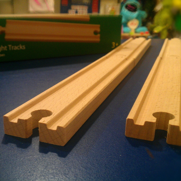 Large long straight tracks brio wooden railway