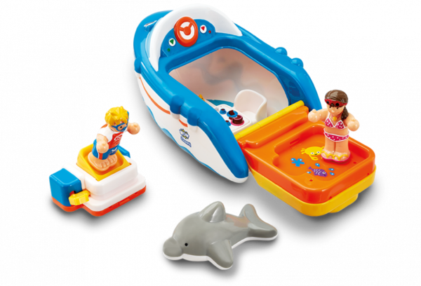 Large dannys diving adventure bath toy boat dolphin diving board figures wow toys preschool plastic safe no batteries toy fun junction toys crieff perth perthshire scotland