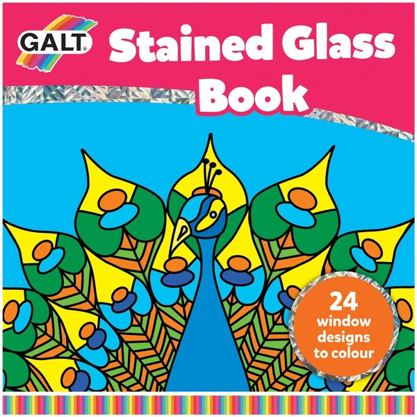 Large galt stained glass book 24 twenty four translucent pages to colour and create your own stained glass effect for children aged 5 five years and up