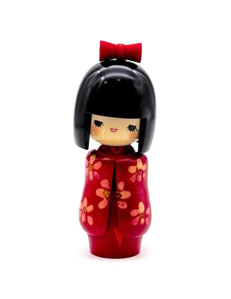 Large kokeshi doll red miss otomesode