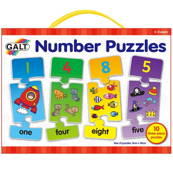 Large galt number puzzles 10 ten 3 three piece number jigsaws with number symbol word and quantity for children aged 3 three years and up