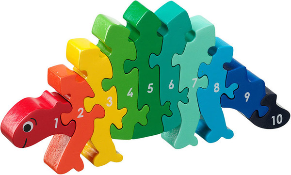 Large dinosaur stegosaurus number puzzle 1 to 10 one to ten jigsaw puzzle lanka kade fair trade toy toys wooden wood natural fun junction toy shop stop store crieff perth perthshire scotland