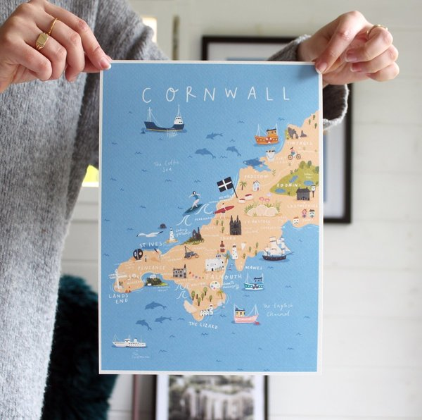 Large cornwall map jessica smith a3
