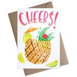 Small cheers pina colada pineapple greeting card