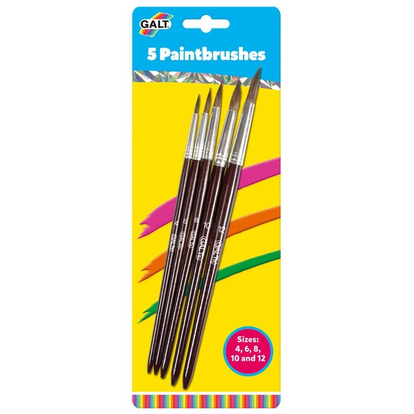Large fun junction crieff perth perthshire scotland galt paint brushes paintbrushes sizes 4 four 6 six  8 eight 10 ten and 12 twelve pack of 5 five brushes