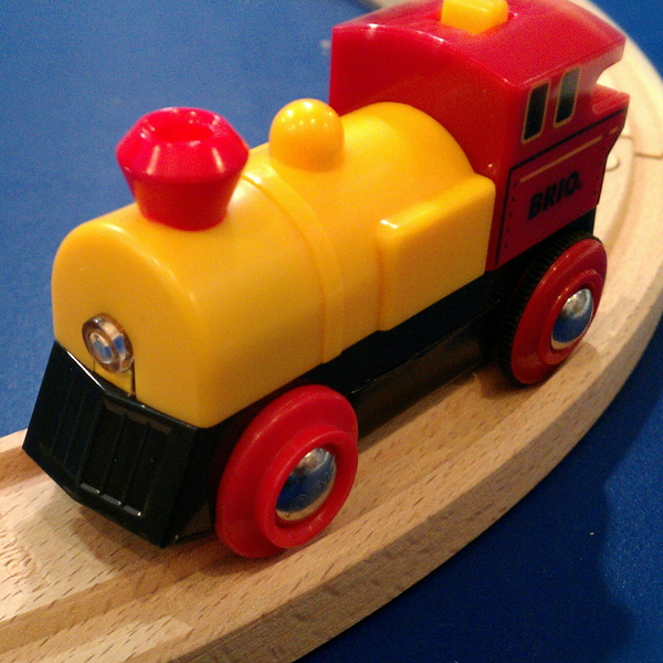 Large brio two way battery powered wooden railway engine red and yellow