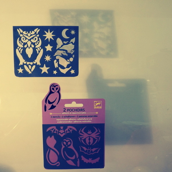 Large djeco pocket money plastic reusable adhesive stencils owl wolf