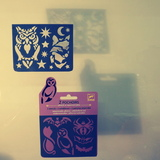 Small djeco pocket money plastic reusable adhesive stencils owl wolf