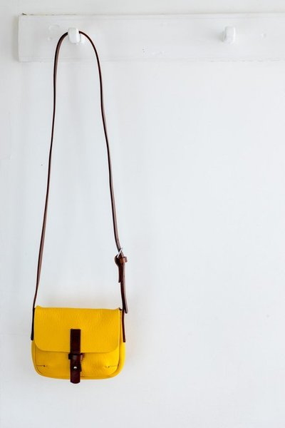 Large main byalicewood yellow messenger bag leather