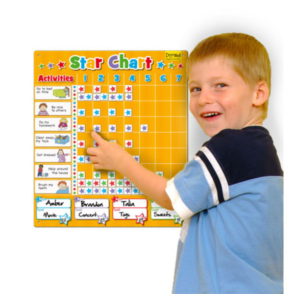 Large fiesta crafts large star chart colour coded with name spaces wipe clean magnetic board