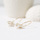 Small 1722. porcelain disc earrings   gold guilded