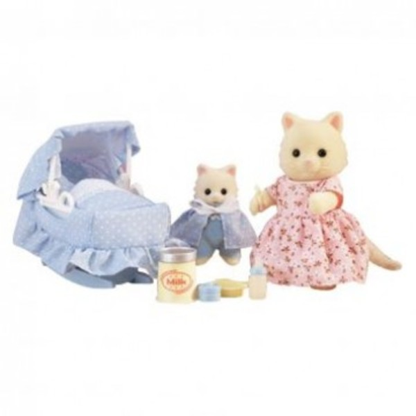 Large sylvanian families 4333 the new arrival mother mummy cat and baby kitten with basonette
