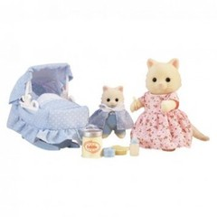 Medium_sylvanian_families_4333_the_new_arrival_mother_mummy_cat_and_baby_kitten_with_basonette