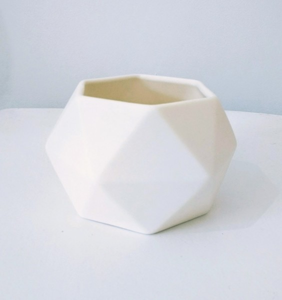 Large white hexagon jacklaverick pot
