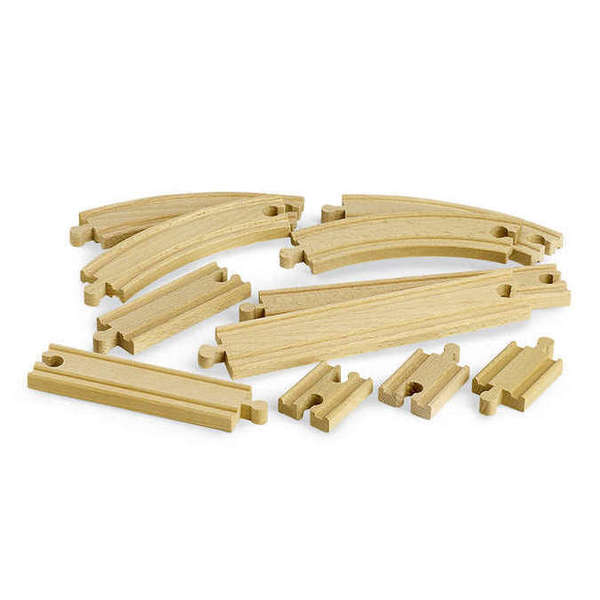 Large expansion pack beginner straight short long curved brio railway wooden track add ons on accessories
