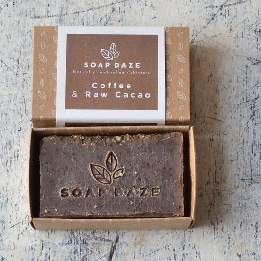 Large coffee and raw cacao handmade vegan natural soap 540x