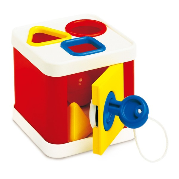 Large lock a block by galt ambi toys shape sorter plastic with key and locking door hatch