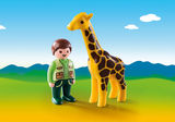 Small playmobil fun junction toy shop perth crieff perthshire scotland play sets imaginative play early years 123 1.2.3 zookeeper with giraffe 9380