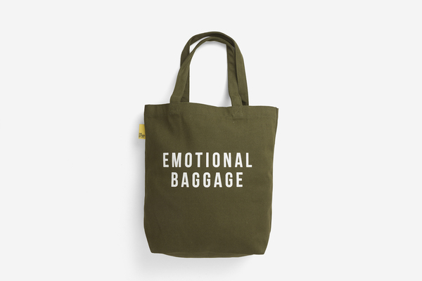 Large emotional baggage   khaki shopper tote bag shoulder printed pocket