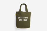 Small emotional baggage   khaki shopper tote bag shoulder printed pocket