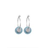 Small 1832 porcelian blue silver double disc hoop earrings