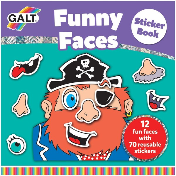 Large galt funny faces sticker book reusable stickers for children aged 3 three years and up