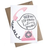 Small mum retro phone mothers day greeting card
