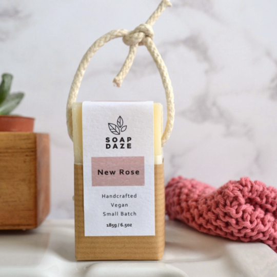 Large new rose handmade vegan natural soap on a rope 540x