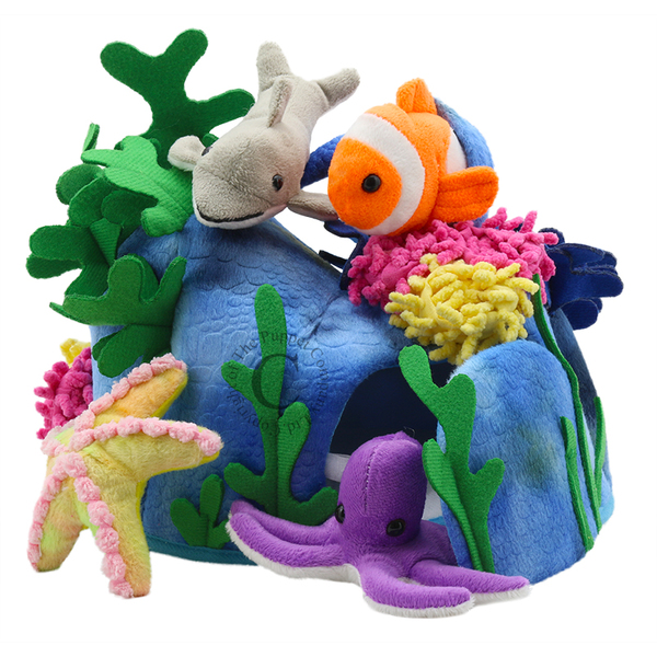Large fun junction toy shop crieff perth perthshire scotland puppet company co hide away puppet sea creatures sealife fish animals finger puppets with octopus starfish clownfish dolphin coral corral